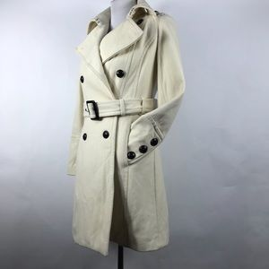 Express Women's Winter White Wool Belted Pea Coat